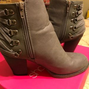 Grey heeled booties